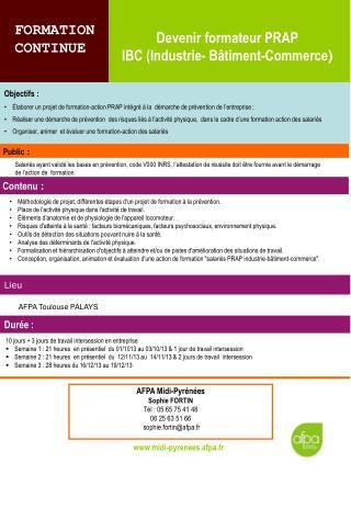 Devenir formateur PRAP  IBC (Industrie- Bâtiment-Commerce )