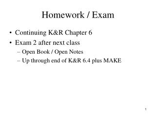Homework / Exam