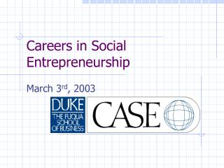 Careers in Social Entrepreneurship