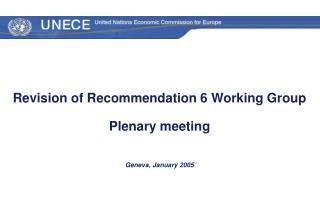 Revision of Recommendation 6 Working Group  Plenary meeting Geneva, January 2005