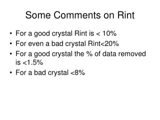 Some Comments on Rint