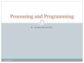 Processing and Programming