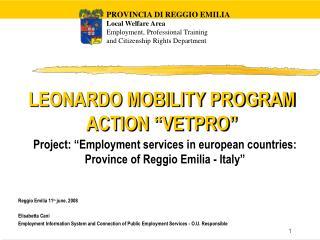 "LEONARDO MOBILITY PROGRAM ACTION ""VETPRO"""