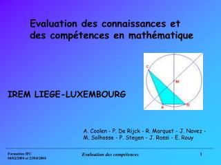 Evaluation des connaissances et des compétences en mathématique