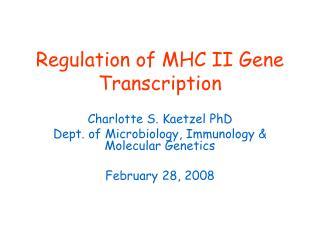 Regulation of MHC II Gene Transcription