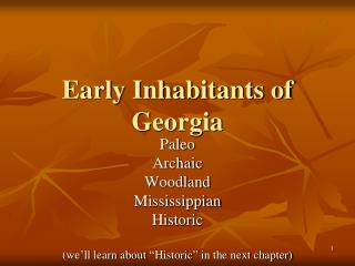 Early Inhabitants of Georgia