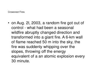 Crowsnest Fires
