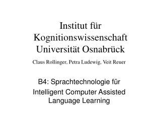 Institut für Kognitionswissenschaft Universität Osnabrück