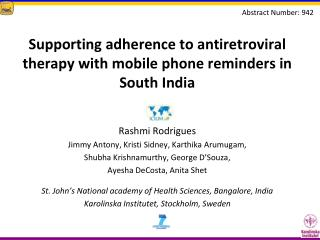 Supporting adherence to antiretroviral therapy with mobile phone reminders in South India