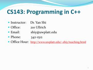 CS143: Programming in C++