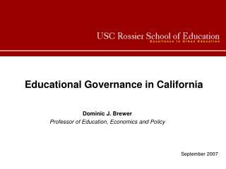 Educational Governance in California