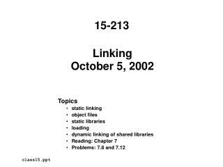 Linking October 5, 2002