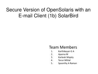 Secure Version of OpenSolaris with an E-mail Client (1b) SolarBird