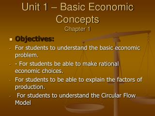 Unit 1 – Basic Economic Concepts Chapter 1