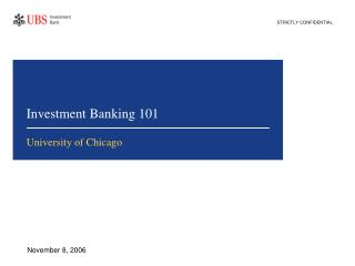 Investment Banking 101