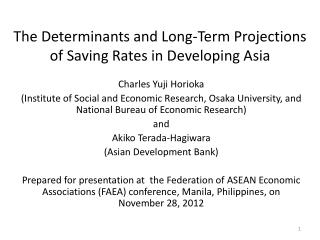 The Determinants and Long-Term Projections of Saving Rates in Developing Asia