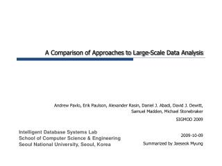 A Comparison of Approaches to Large-Scale Data Analysis