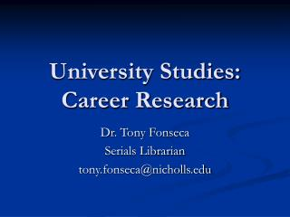 University Studies: Career Research