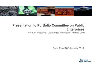 Presentation to Portfolio Committee on Public Enterprises