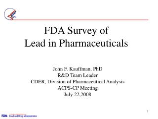 FDA Survey of  Lead in Pharmaceuticals