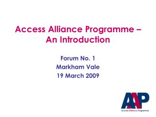 Access Alliance Programme – An Introduction