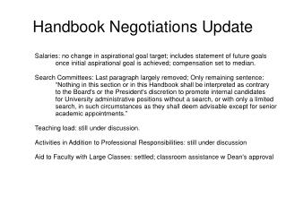 Handbook Negotiations Update