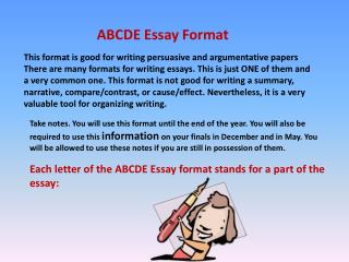 This format is good for writing persuasive and argumentative papers