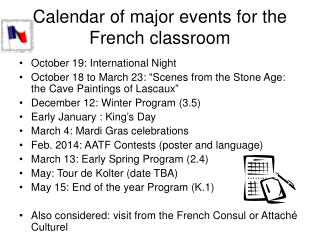 Calendar of major events for the French classroom