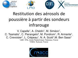 Restitution des aérosols de poussière à partir des sondeurs infrarouge