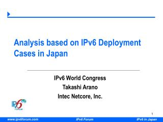 Analysis based on IPv6 Deployment Cases in Japan