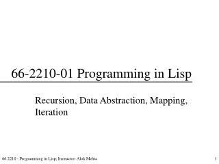 66-2210-01 Programming in Lisp
