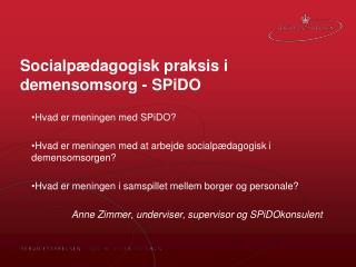Socialpædagogisk praksis i demensomsorg - SPiDO