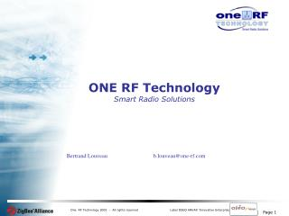 ONE RF Technology Smart Radio Solutions