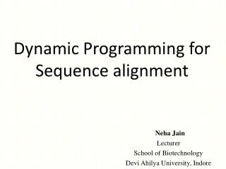 Dynamic  Programming for Sequence alignment