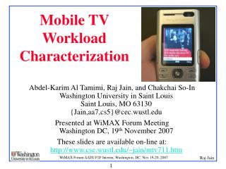 Mobile TV Workload Characterization