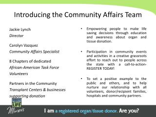 Introducing the Community Affairs Team