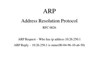 ARP Address Resolution Protocol RFC 0826 ARP Request – Who has ip address 10.26.250.1