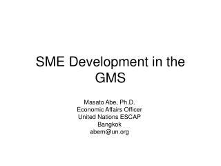 SME Development in the GMS
