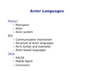 Actor Languages