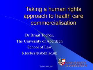 Taking a human rights approach to health care commercialisation