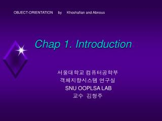 Chap 1. Introduction