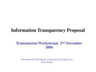 Information Transparency Proposal