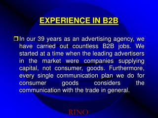 EXPERIENCE IN B2B