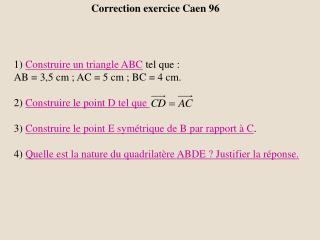 Correction exercice Caen 96