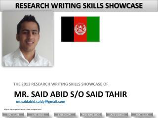 Mr. Said Abid s/o Said Tahir
