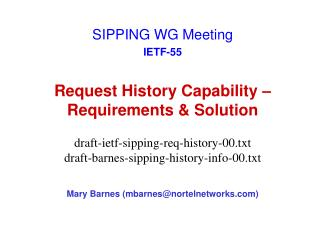 Request History Capability – Requirements & Solution