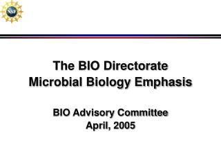The BIO Directorate  Microbial Biology Emphasis BIO Advisory Committee April, 2005