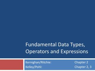 Fundamental Data Types, Operators and Expressions