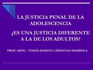 LA JUSTICIA PENAL DE LA ADOLESCENCIA  ¿ES UNA JUSTICIA DIFERENTE A LA DE LOS ADULTOS?