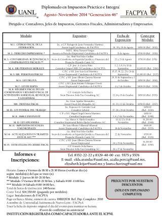"""Diplomado en Impuestos Práctico e Integral Agosto-Noviembre 2014 """"Generación 46"""""""
